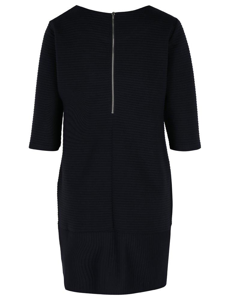 Tmavě modré žebrované šaty s 3/4 rukávem Fever London Freya
