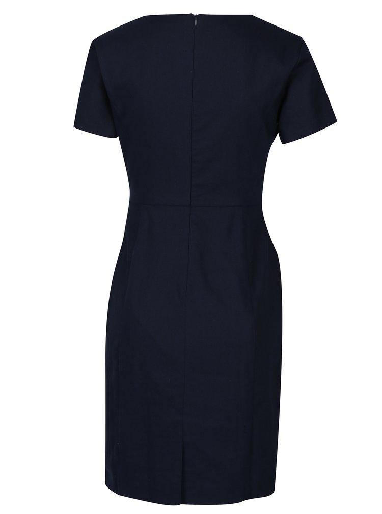 Tmavě modré pouzdrové šaty s mašlí Fever London Martha
