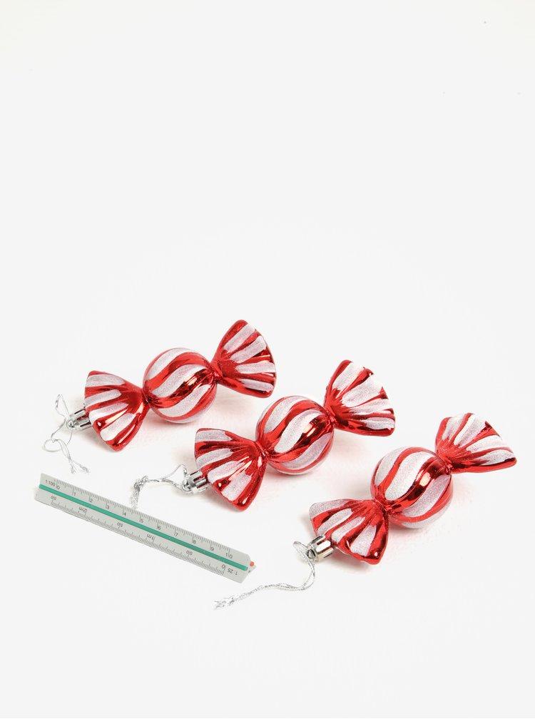 Set de 3 ornamente rosu & argintiu pentru sarbatori in forma de bomboane - Kaemingk
