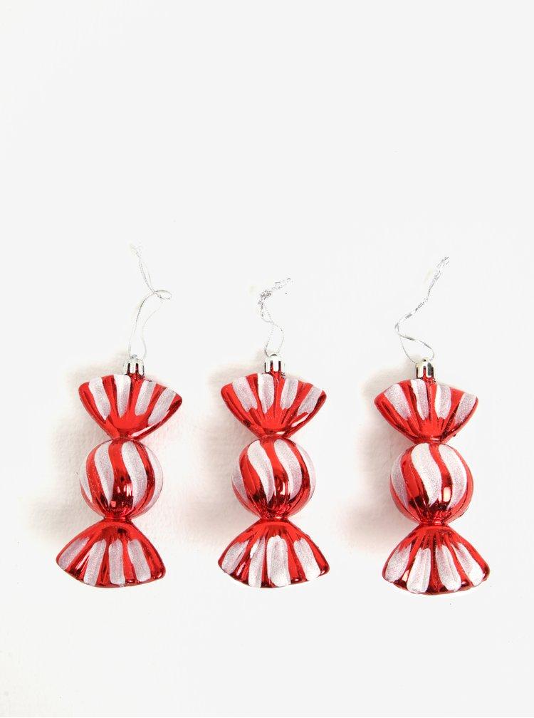 Červené vánoční ozdoby ve tvaru bonbónů Kaemingk