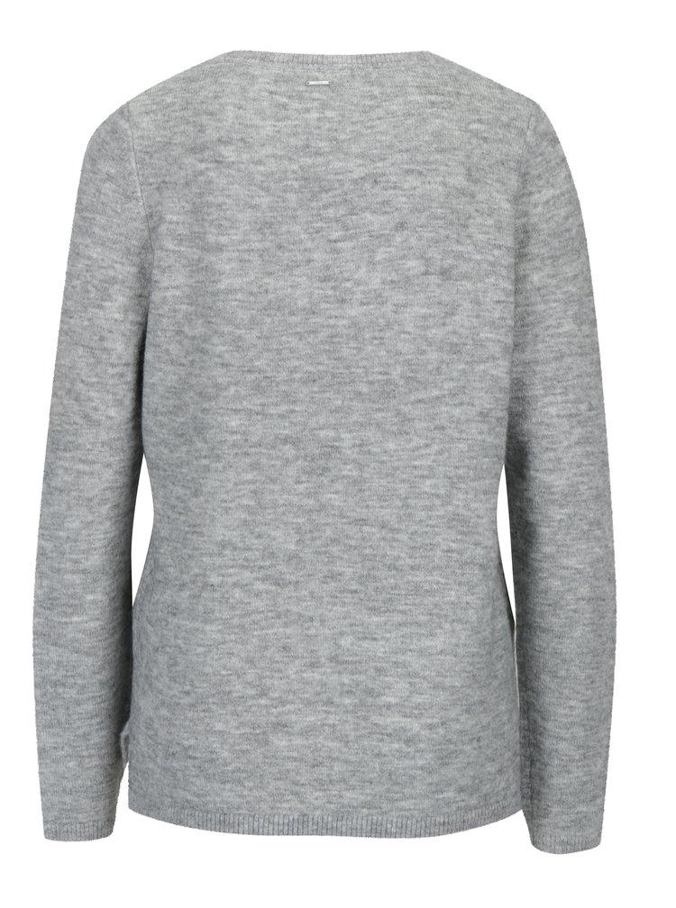 Šedý dámský žíhaný svetr s příměsí vlny z alpaky s.Oliver