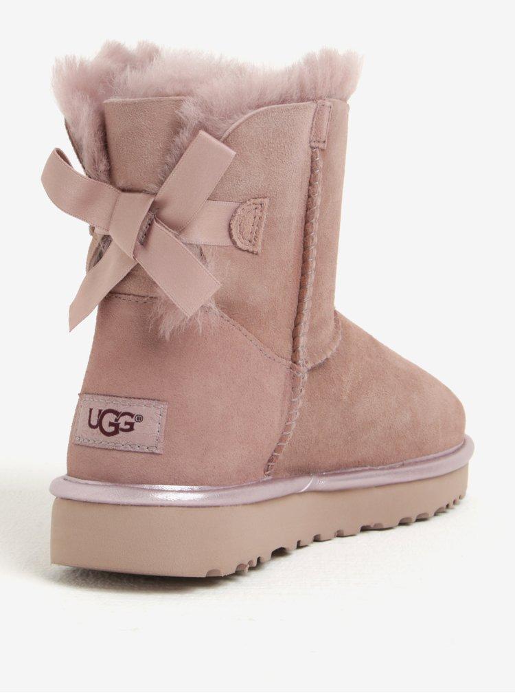 Cizme roz prafuit impermeabile din piele cu funde  - UGG Mini Bailey Bow II