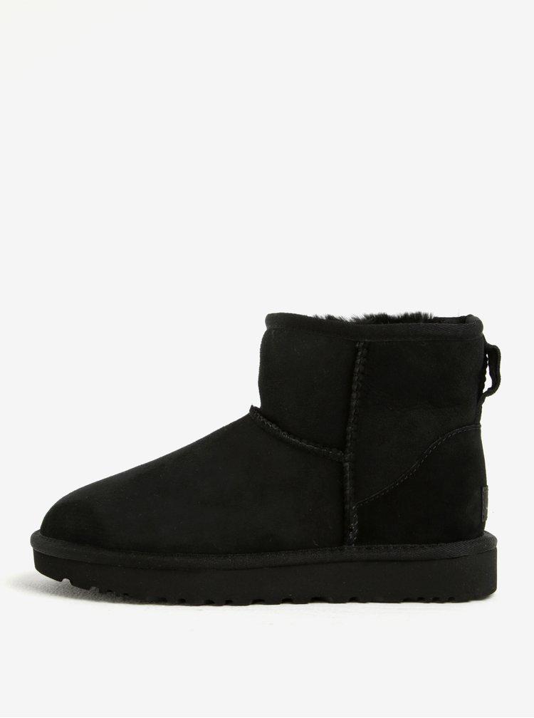 Cizme negre impermeabile din piele intoarsa de oaie si lana UGG Classic Mini II