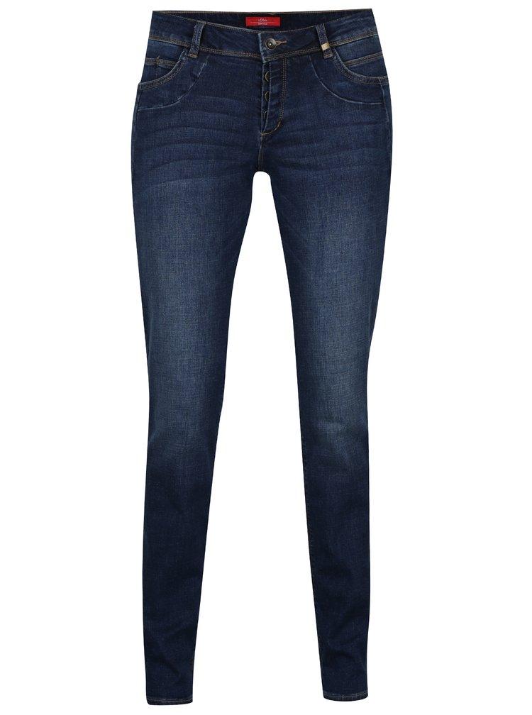 Modré dámské slim džíny s vyšisovaným efektem s.Oliver
