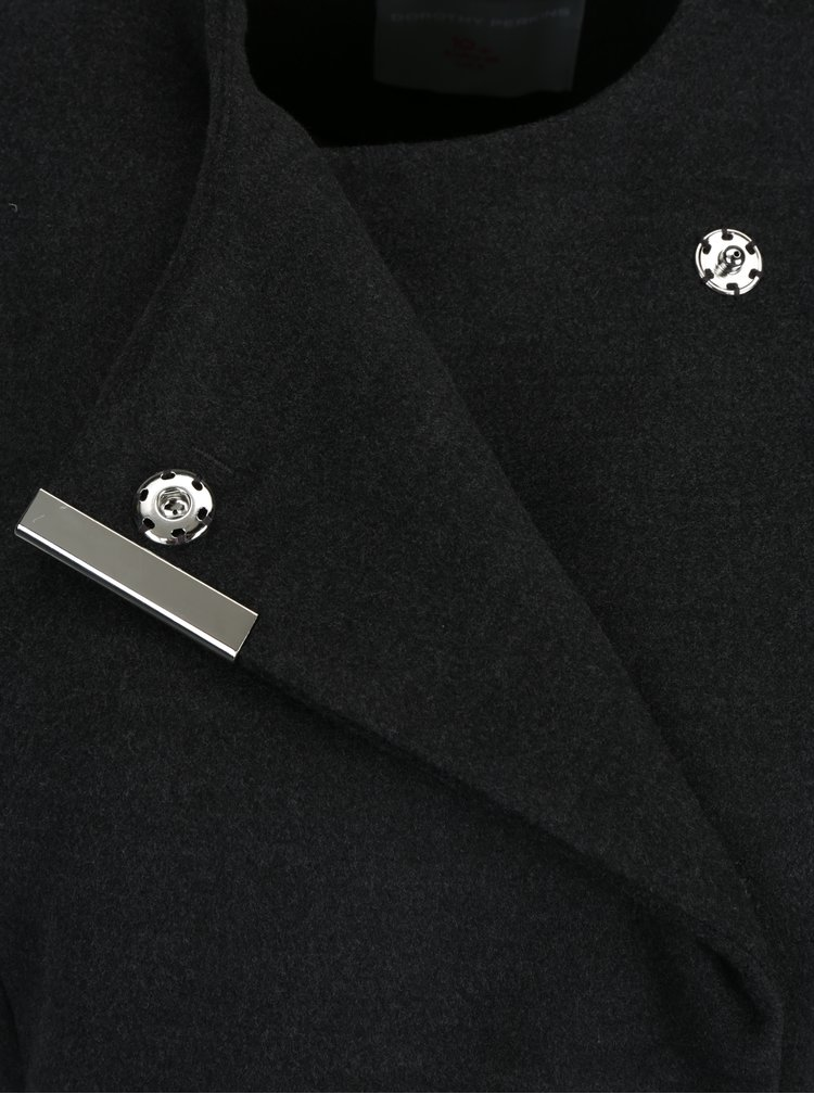 Tmavě šedý kabát s páskem Dorothy Perkins Petite