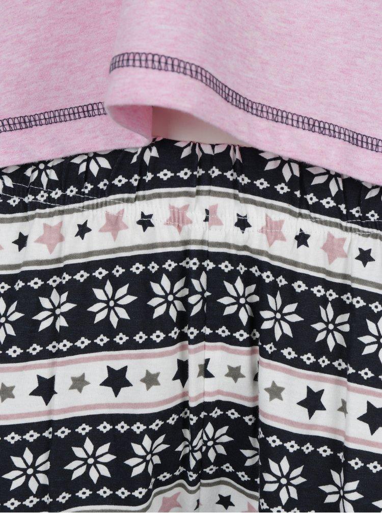 Pijama roz & albastru cu model print - Dorothy Perkins