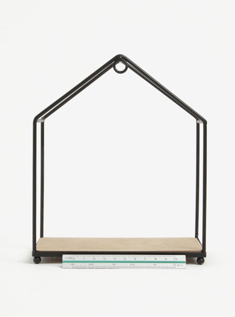 Černá závěsná police ve tvaru domku Sass & Belle House Shelf