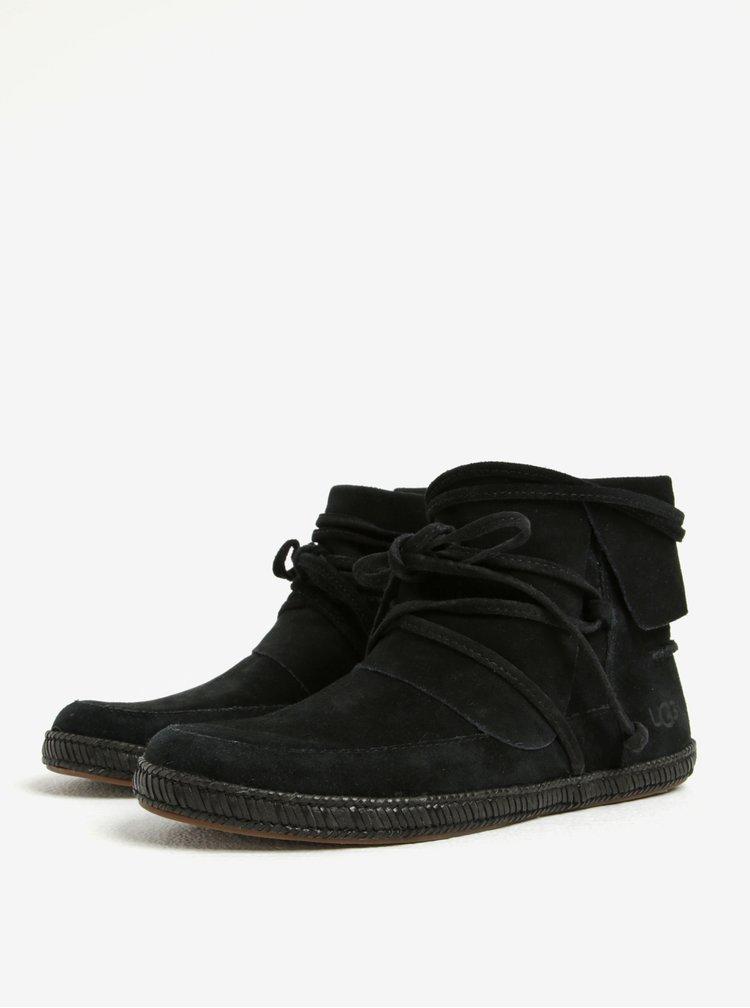 Černé zimní kotníkové voděodolné semišové boty UGG Reid