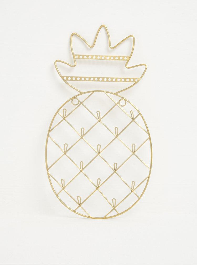 Závěsný stojan na šperky ve tvaru ananasu ve zlaté barvě Sass & Belle Gold Cactus
