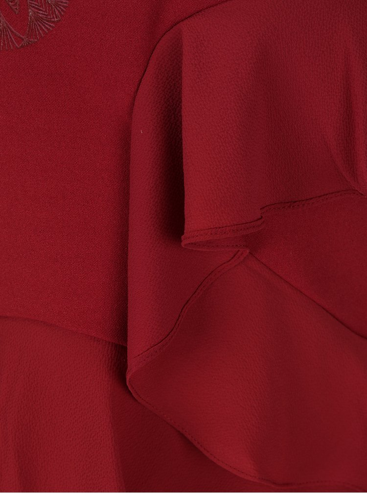Rochie bordo cu volane asimetrice Desigual Flopo