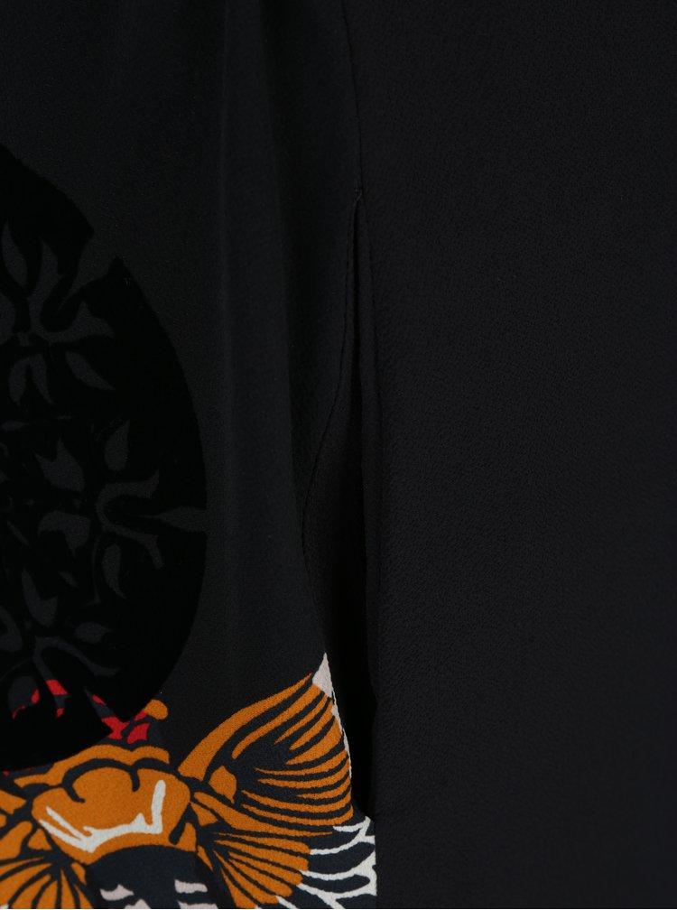 Černé šaty se vzorem a tříčtvrtečním rukávem Desigual Brad