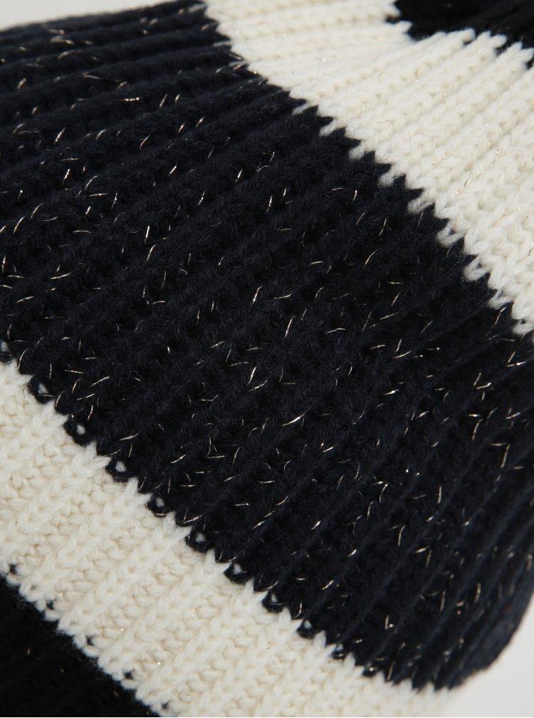 Modro-černá pruhovaná čepice s bambulí  ONLY Annica