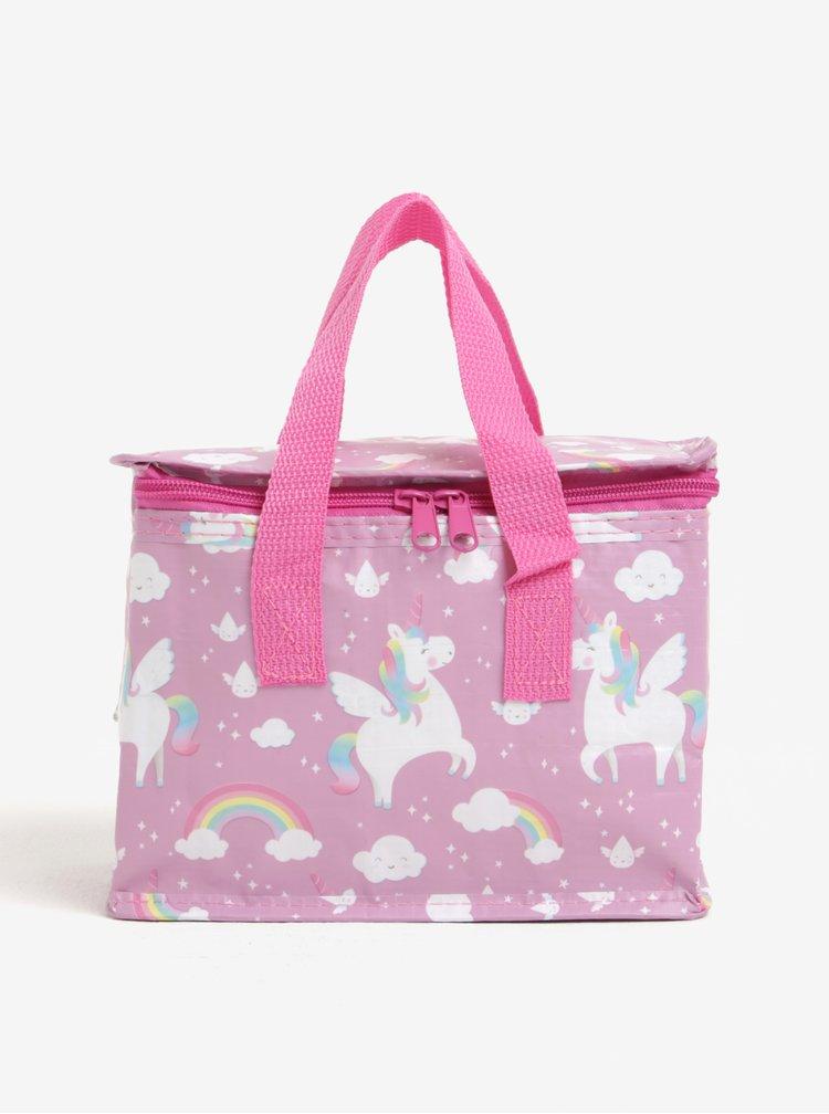 Geanta termorezistenta pentru alimente cu motiv unicorni - Sass & Belle Rainbow Unicorn