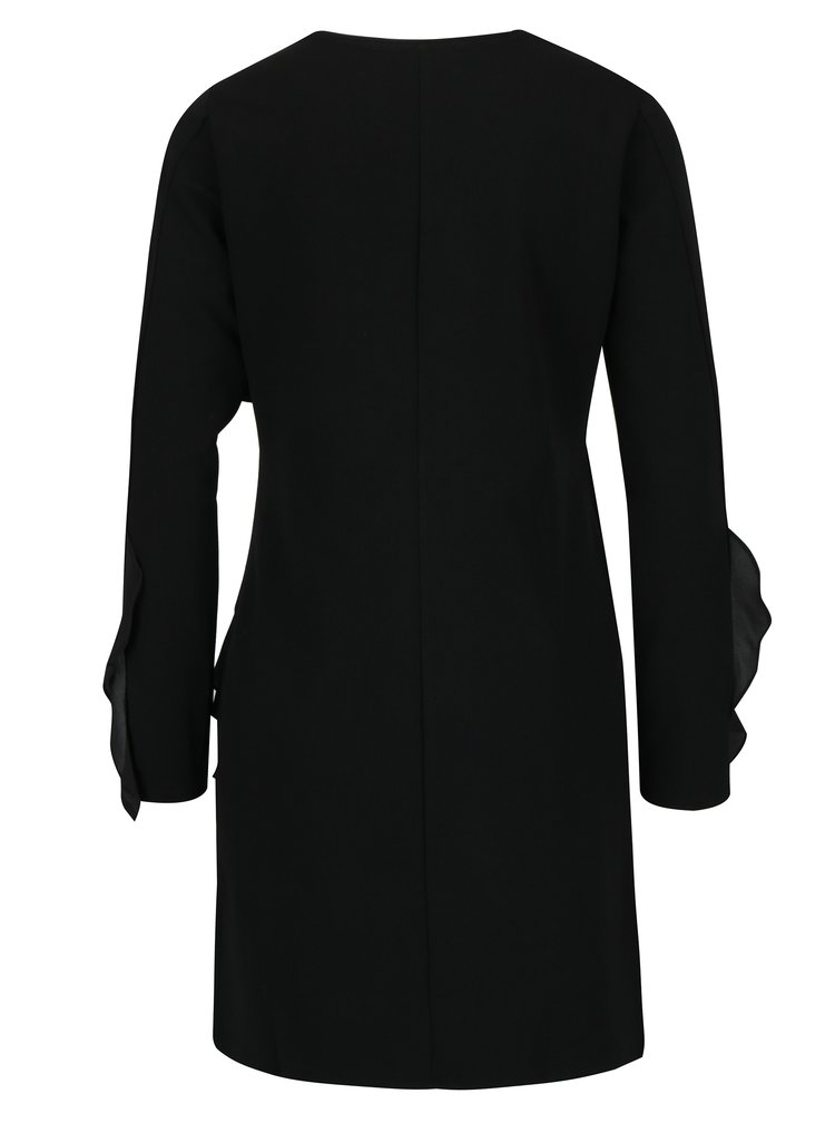 Černé šaty s potiskem a volány Desigual Flopo