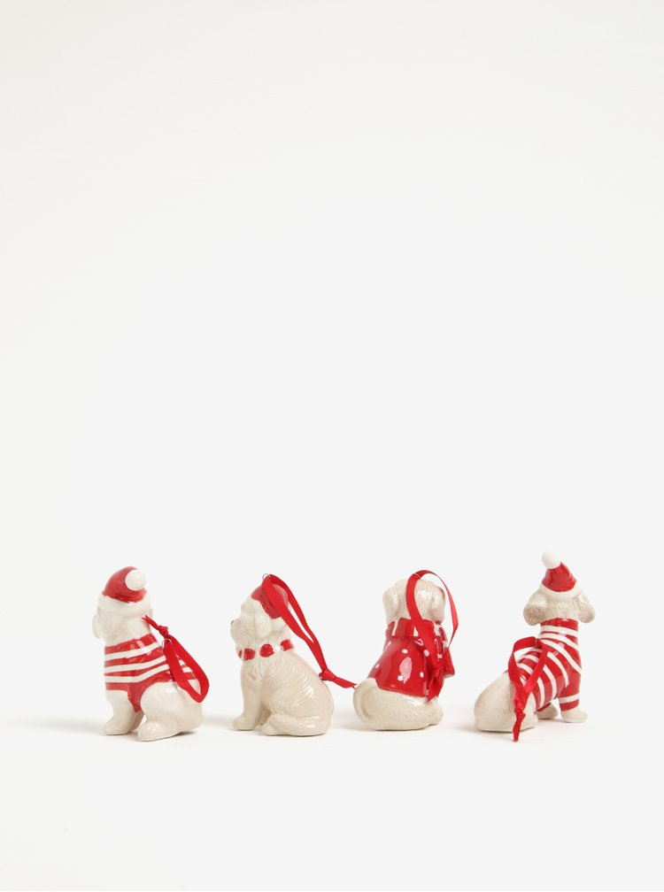 Set čtyř béžovo-červených keramických ozdob ve tvaru psů Kaemingk