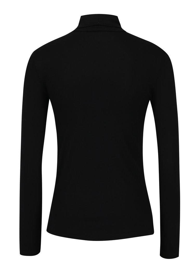 Bluza neagra basic cu guler mediu - Dorothy Perkins Petite