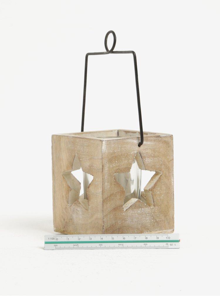 Světle hnědý závěsný svícen s otvory ve tvaru hvězd Sass & Belle Cubic