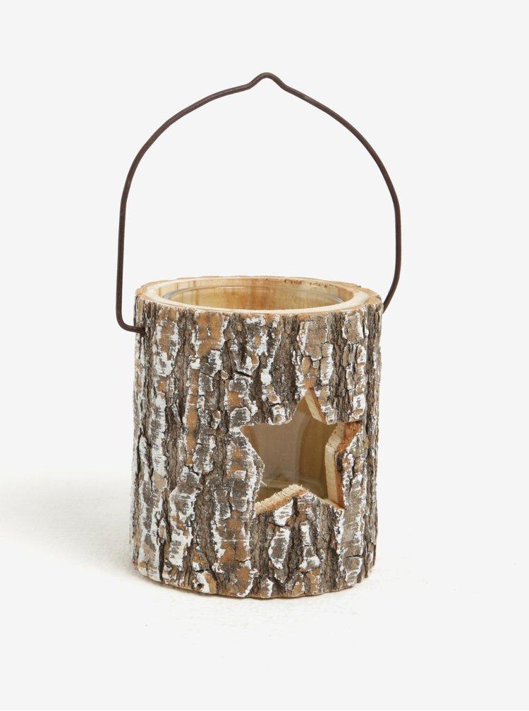 Suport pentru lumanare din lemn si sticla cu steluta - Sass & Belle Winter Star