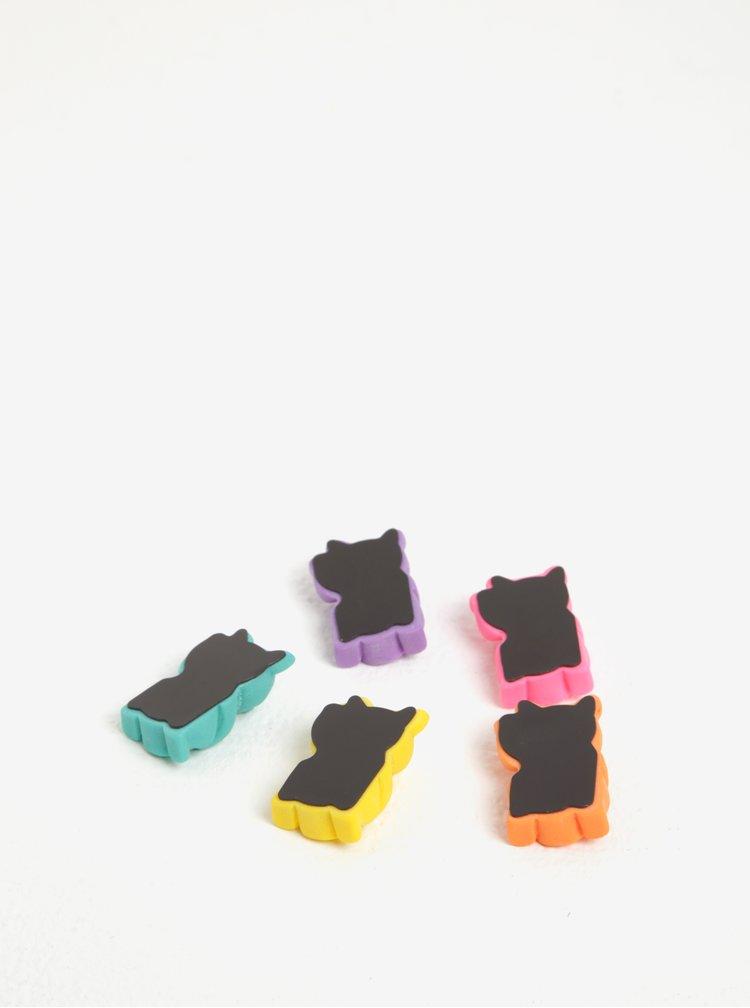 Set de 5 magneti mov, roz, verde, portocaliu si galben in forma de pisica Mustard