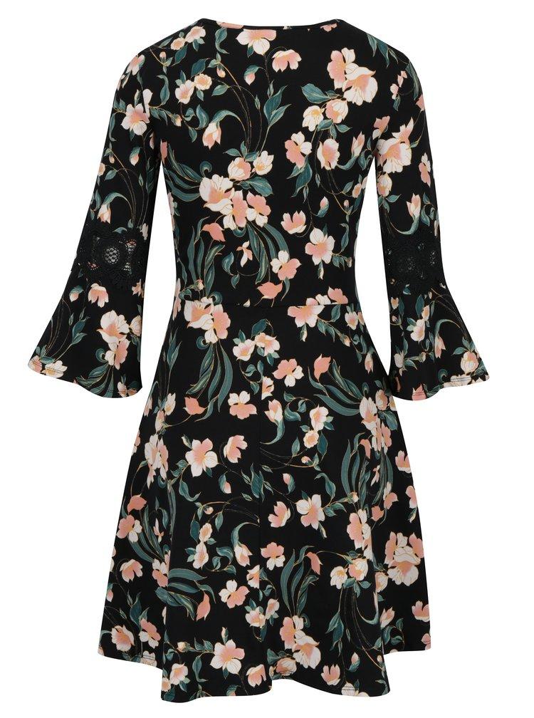 Růžovo-černé květované šaty Dorothy Perkins