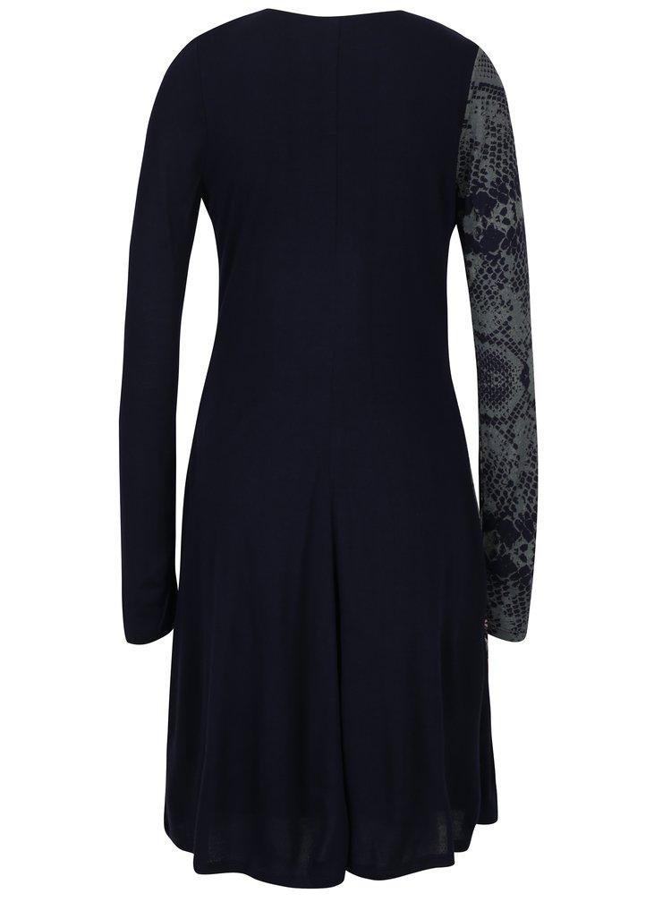 Tmavě modré vzorované šaty Desigual Carina