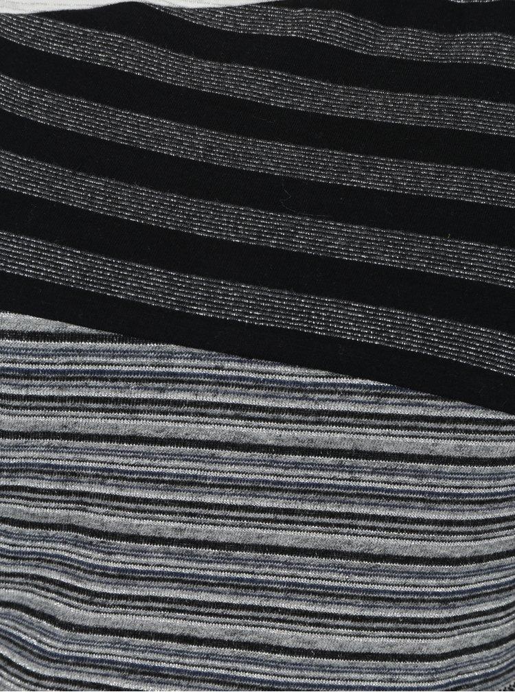 Krémovo-černé pruhované šaty se stříbrným vzorem Desigual Irlanda