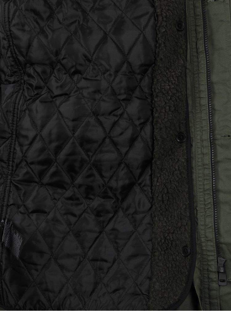 Khaki pánská zimní parka s kapucí QS by s.Oliver