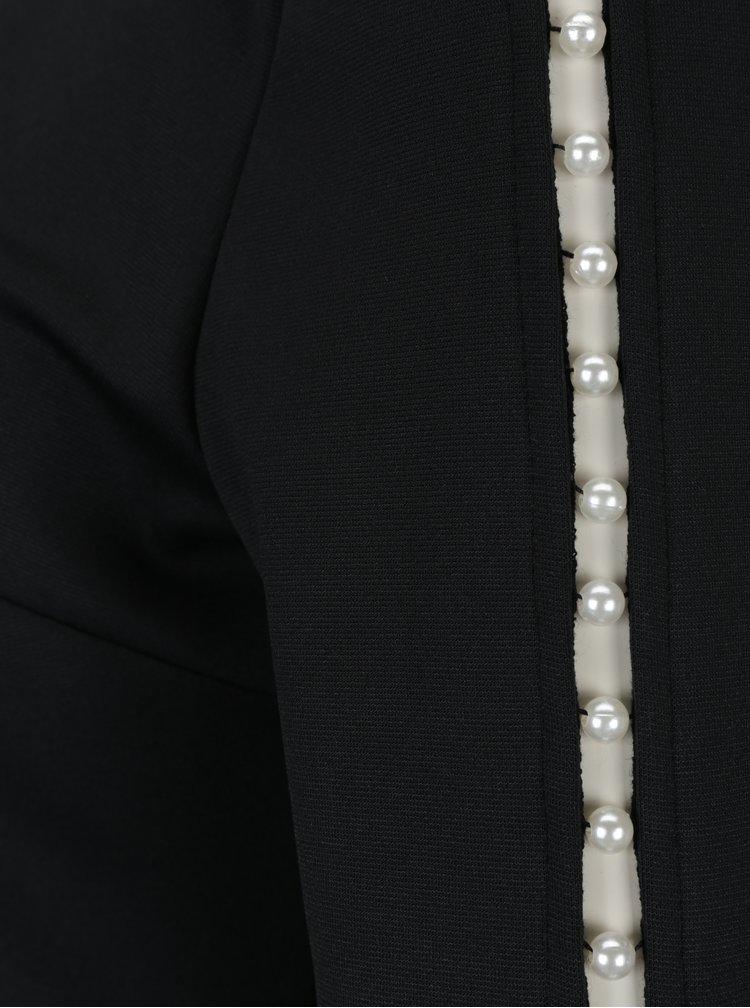 Černé šaty s véčkovým výstřihem na zádech a aplikací na rukávech Dorothy Perkins
