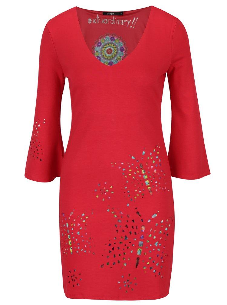 Červené šaty s průstřihy Desigual Dominique