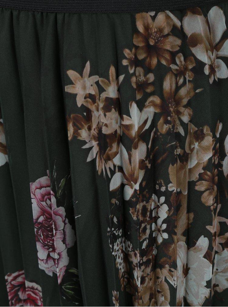 Tmavě zelená květovaná plisovaná sukně Desigual Lisa
