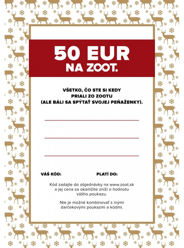 Elektronický poukaz zo ZOOTu v hodnote 50 €