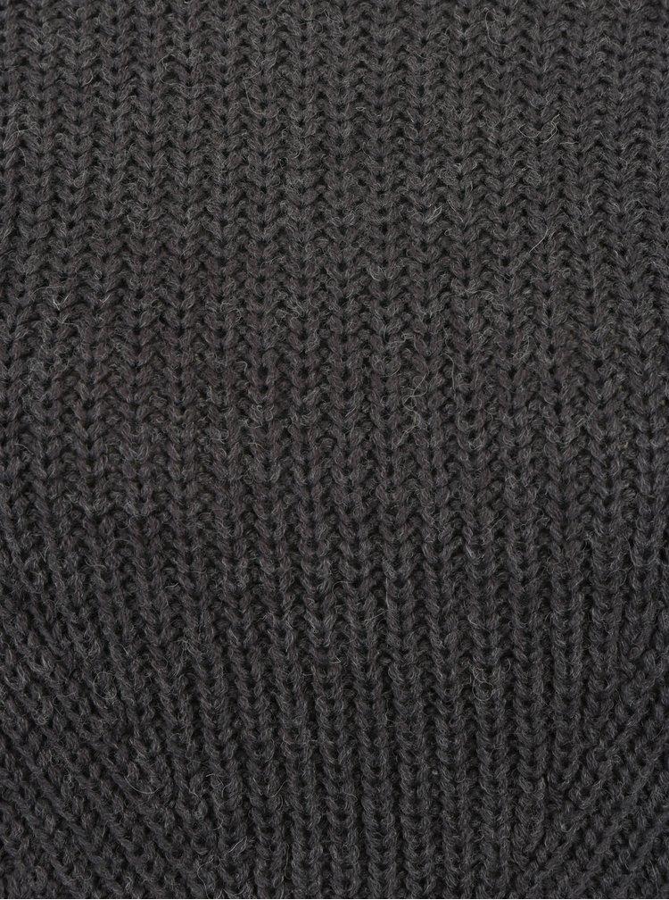 Pulover gri inchis cu guler inalt - Jacqueline de Yong