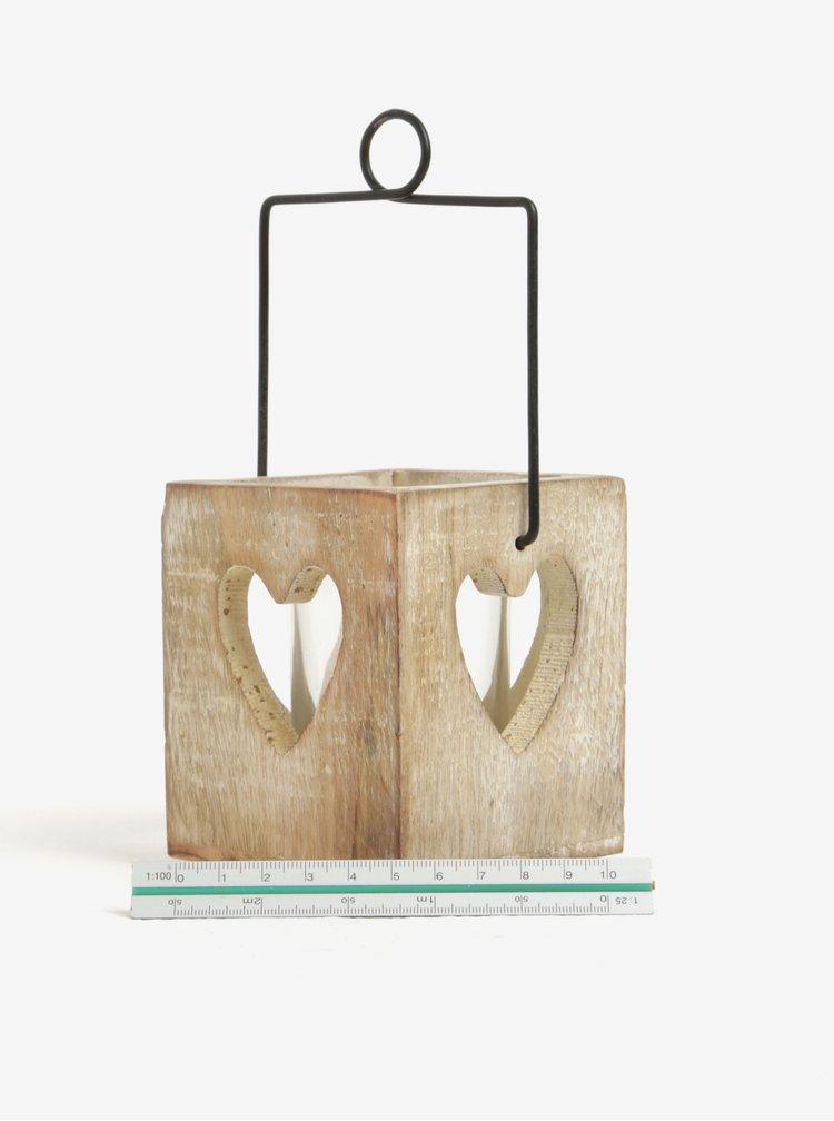Suport pentru lumanare din lemn si sticla cu inimioara - Sass & Belle Cubic