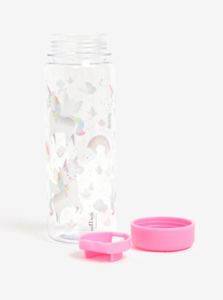 Růžová láhev na vodu s motivem jednorožce Sass & Belle Rainbow Unicorn