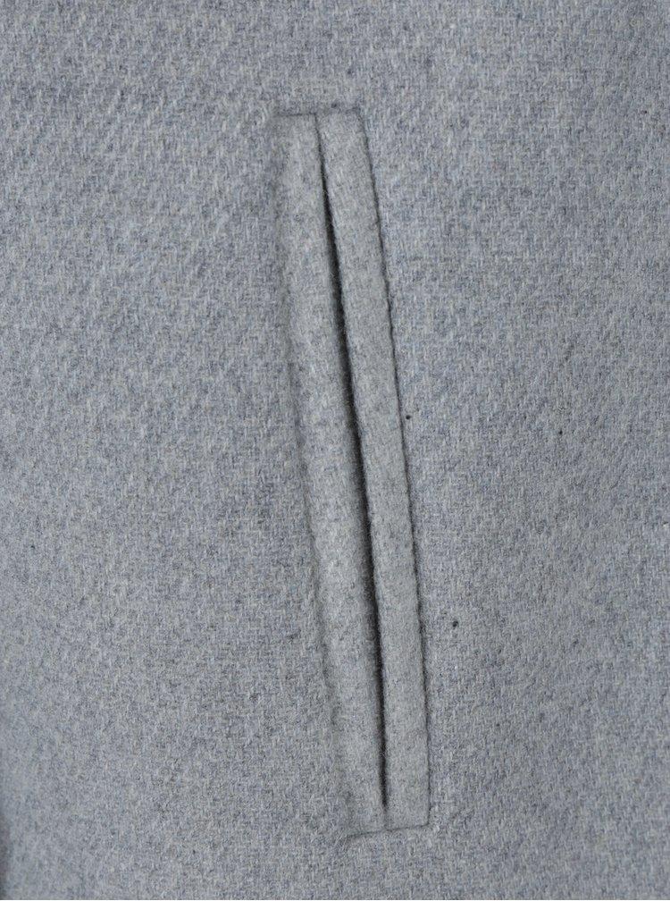 Světle šedý kabát s příměsí vlny VERO MODA
