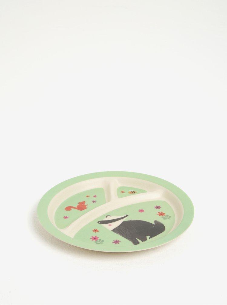 Béžovo-zelený dětský talíř s motivem lesních zvířat Sass & Belle Woodland Friends