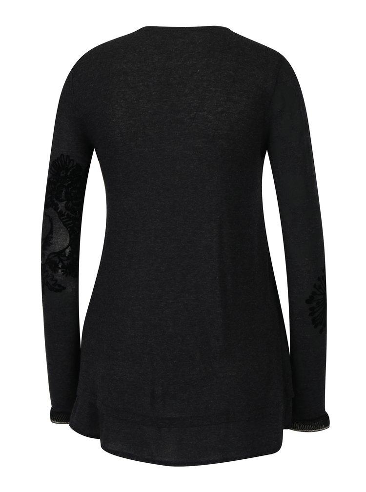 Tmavě šedé tričko se vzorem a sametovým potiskem Desigual Edi