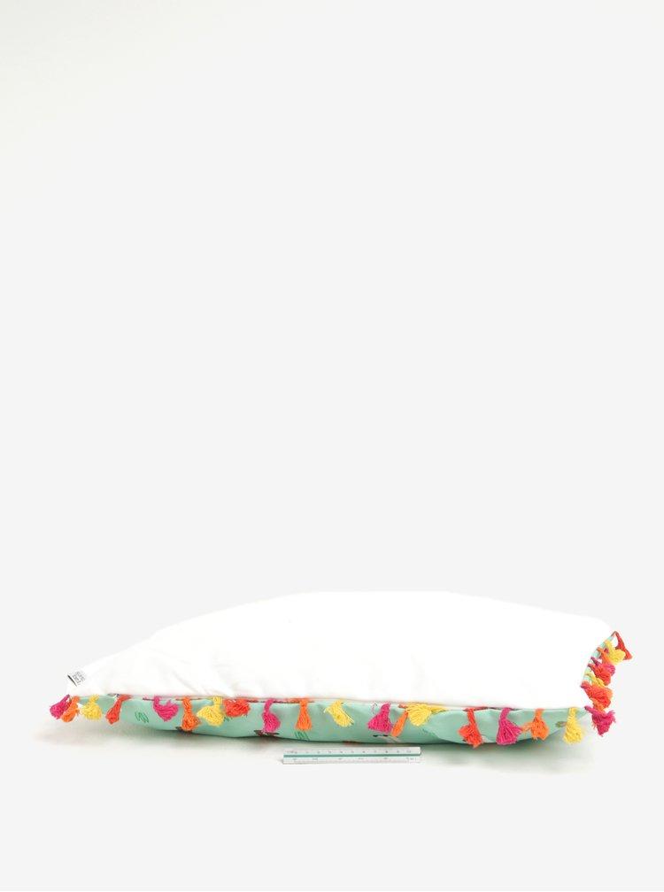 Světle zelený polštář s třásněmi a motivem lamy Sass & Belle Lima Llama