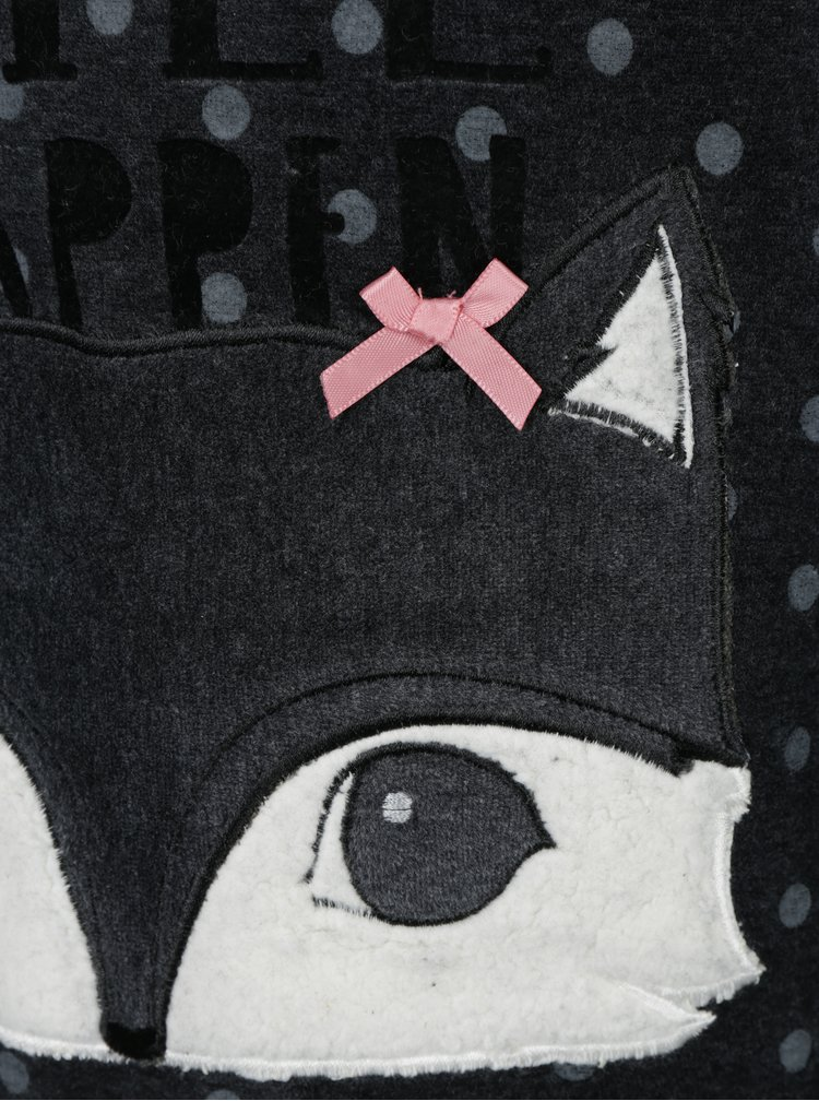 Tmavě šedé holčičí puntíkované sametové pyžamo BÓBOLI