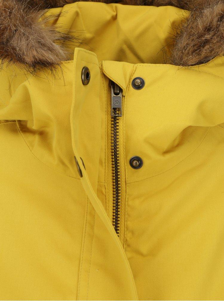 Geaca parka galbena impermeabila de iarna cu gluag pentru femei -  MEATFLY Rainy 2