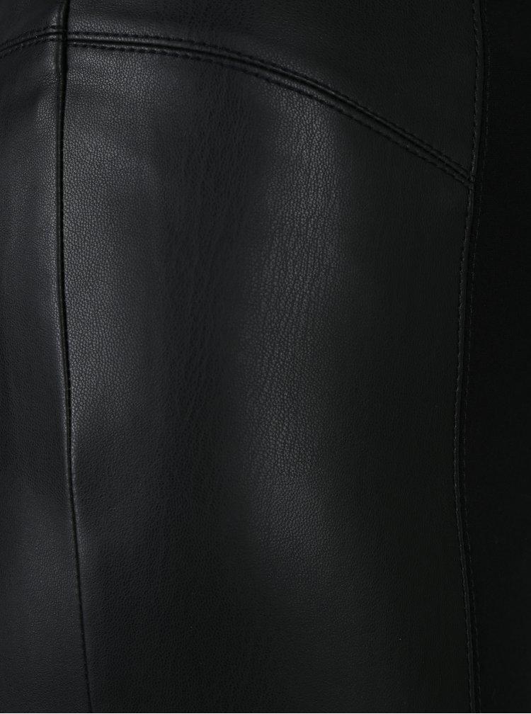 Černé legíny s koženkovou aplikací Desigual Harvey
