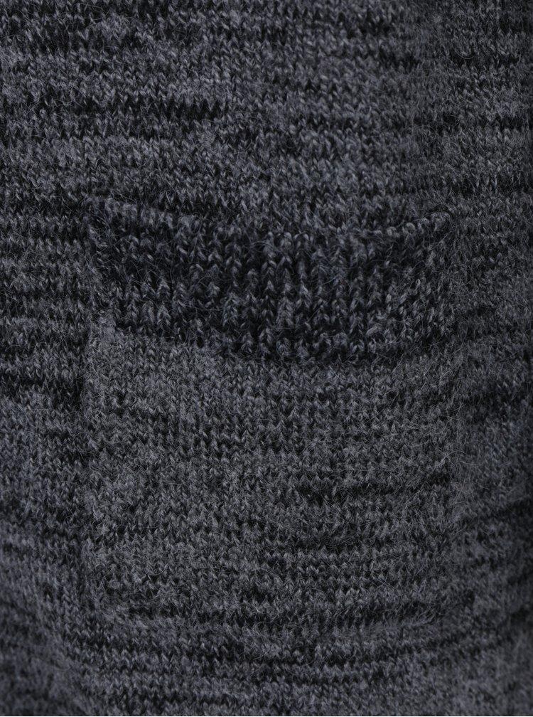 Tmavě šedý holčičí žíhaný kardigan s kapsami name it Helani