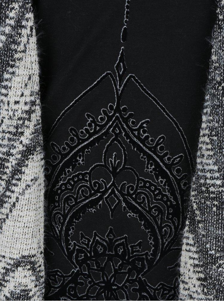 Krémovo-černý žíhaný kardigan s všitým topem Desigual Essentials