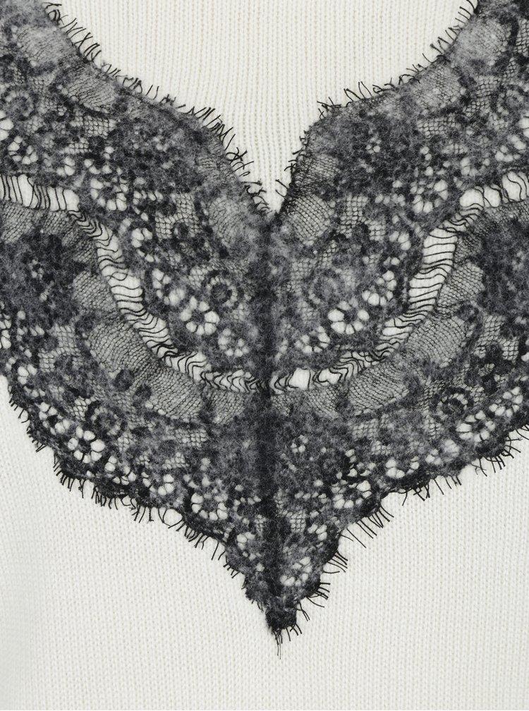 Krémový svetr s příměsí vlny a krajkovým detailem Desigual Saruka