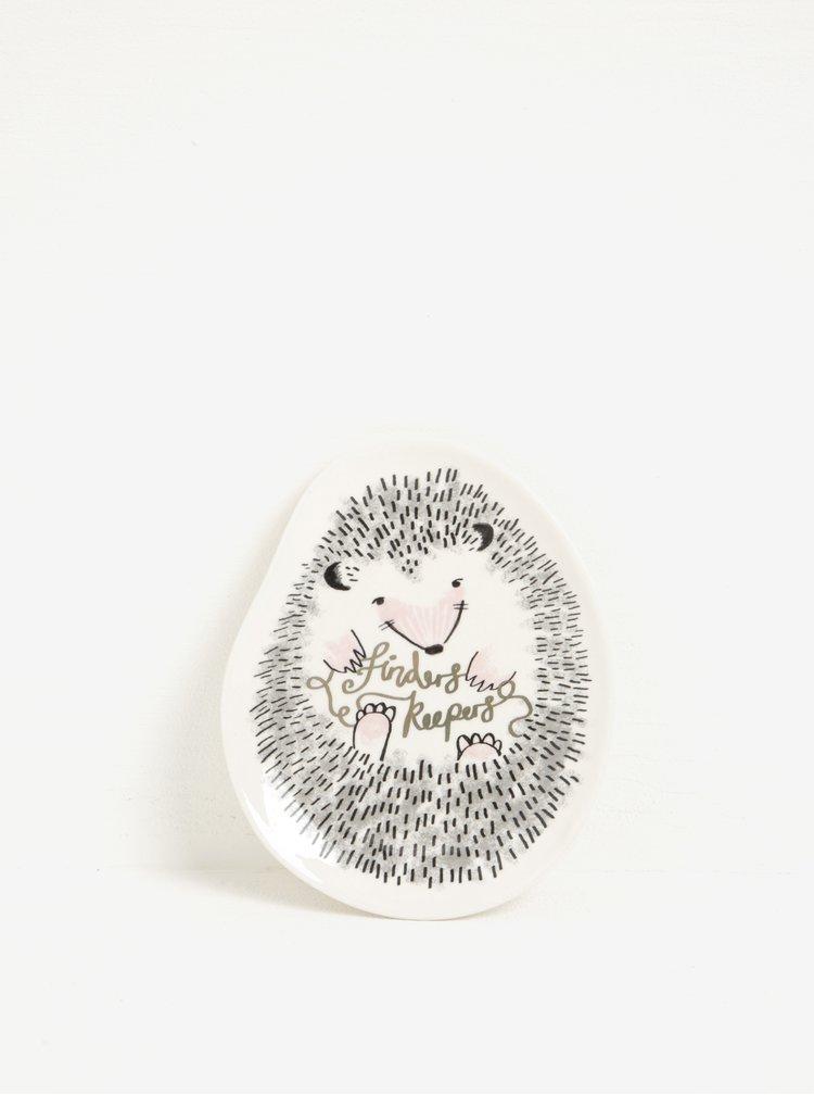 Krémová keramická miska na šperky ve tvaru ježka Disaster Over The Moon Hedgehog