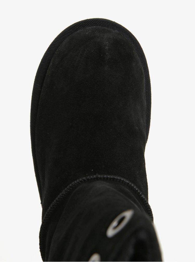 Čierne semišové čižmy so šnurovaním na zadnej strane Tamaris
