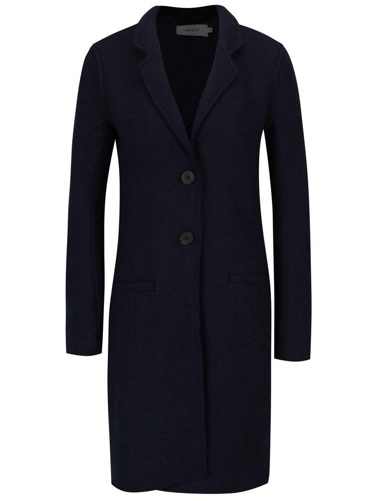 Tmavě modrý kabát s příměsí vlny ONLY New Ella