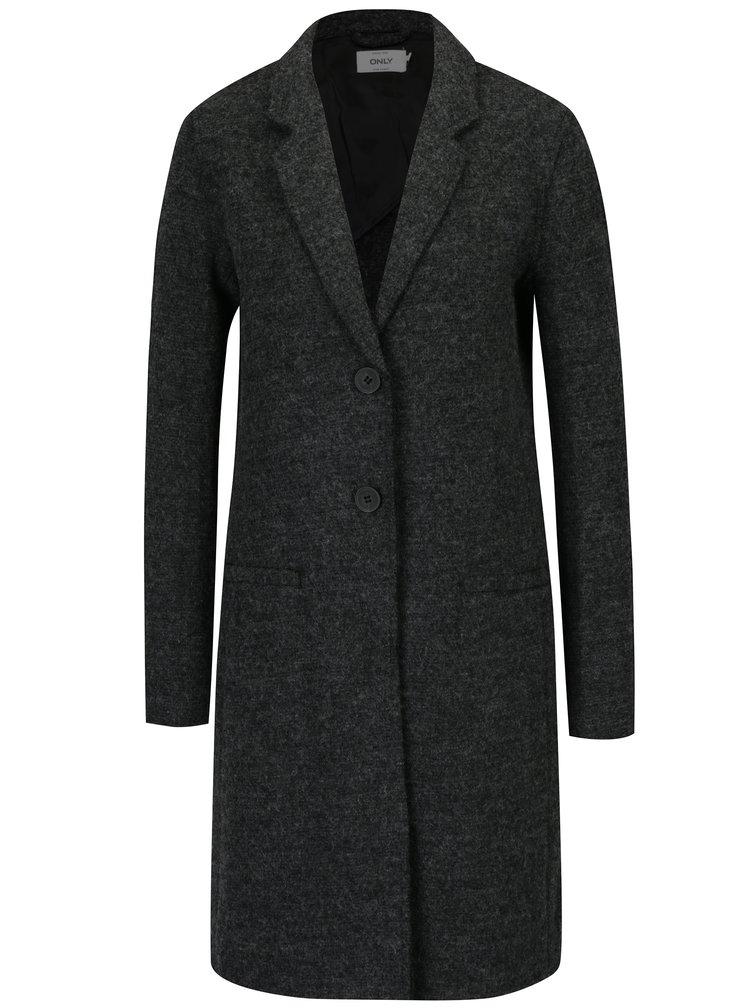 Tmavě šedý žíhaný kabát s příměsí vlny ONLY New Ella