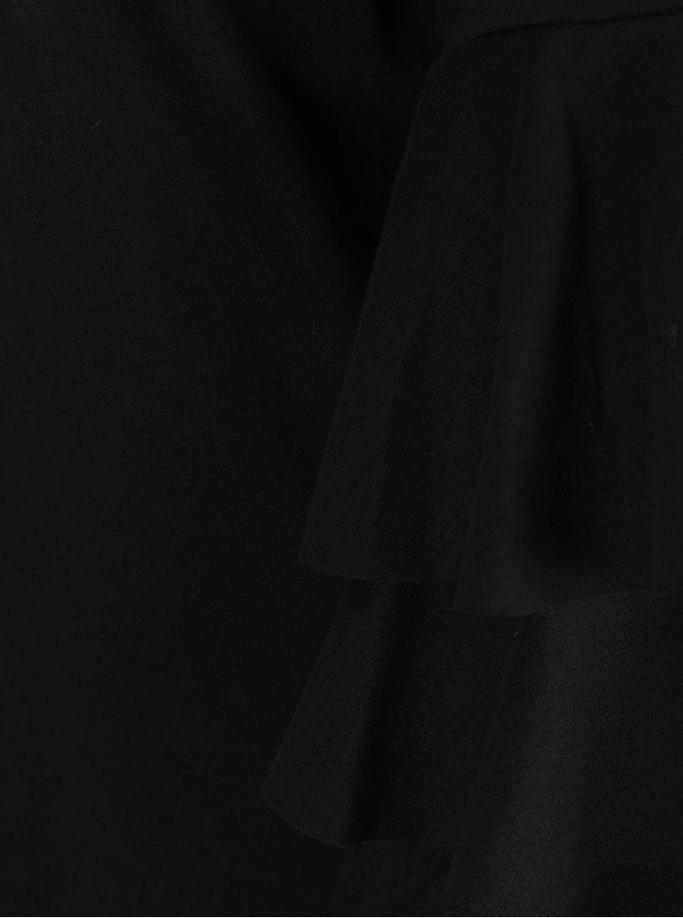 Černá lehká mikina s volány na rukávech ONLY Ancona