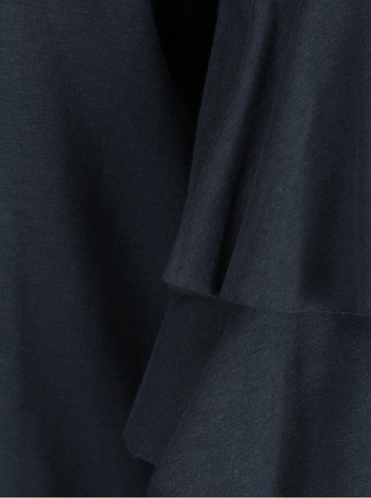 Tmavě modrá lehká mikina s volány na rukávech ONLY Ancona